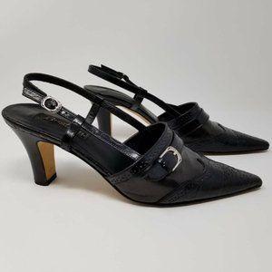 Brighton Mersey Slingback Heels Black Leather
